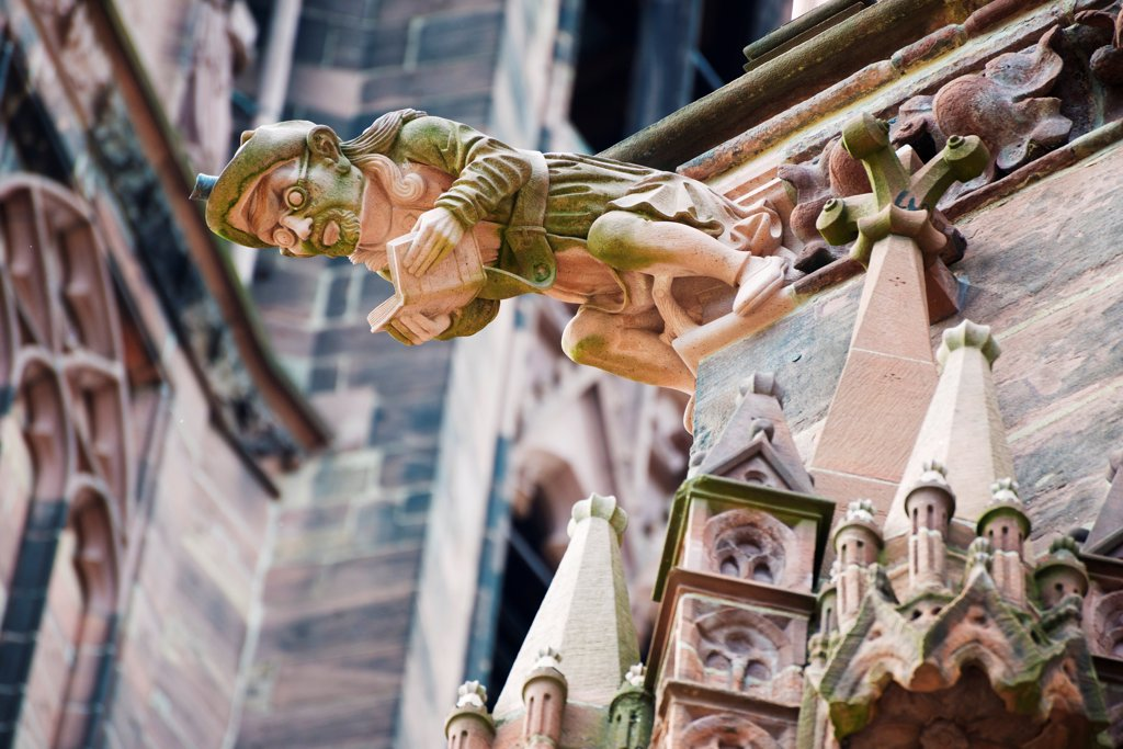 Europe, Germany, Freiburg, Baden Wurttemberg, gargoyles, Freiburg Cathedral : Stock Photo