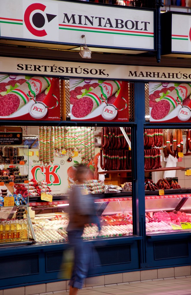 Stock Photo: 4272-41903 Hungary, Budapest, Central & Eastern Europe, outside a butchers shop