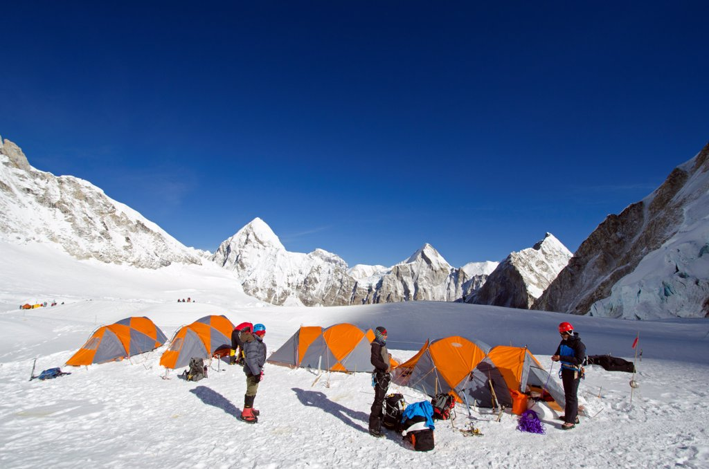 Asia, Nepal, Himalayas, Sagarmatha National Park, Solu Khumbu Everest Region, tents at Camp 1 on Mt Everest : Stock Photo