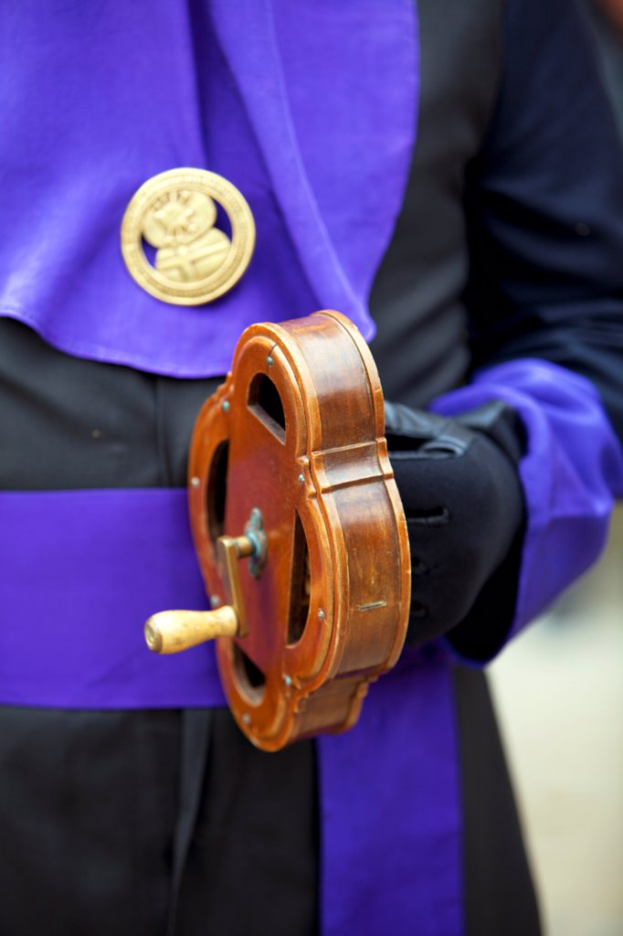 Stock Photo: 4272-42702 Santiago de Compostela, Galicia, Northern Spain, Detail of a special musical instrument which creates an eiree percussive sound , during Semana Santa