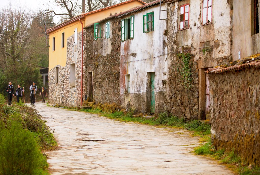 Stock Photo: 4272-42796 Spain, Galicia, Camino Frances, Houses in a small hamlet on the route of the Camino