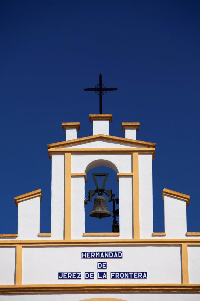 El Rocio, Huelva, Southern Spain. Detail of top of a building in the village fo El Rocio : Stock Photo