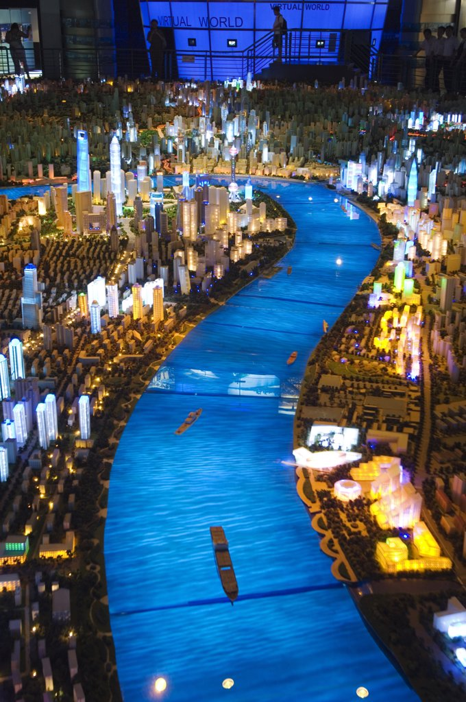 China, Shanghai. Shanghai Urban Planning and Expo 2010 Exhibition Hall - illuminated scale plan of the Shanghai of the future. : Stock Photo