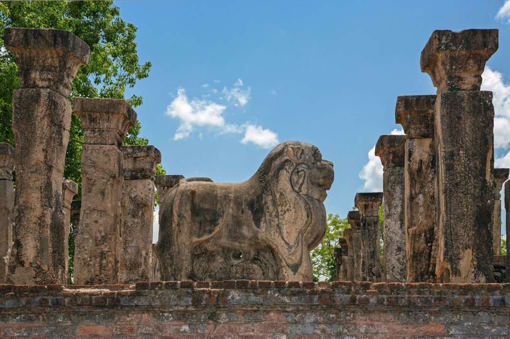 Stock Photo: 4272-44717 The ancient Council Chamber and throne of King Nissanka Malla 1187 1196 AD, Polonnaruwa, Sri Lanka