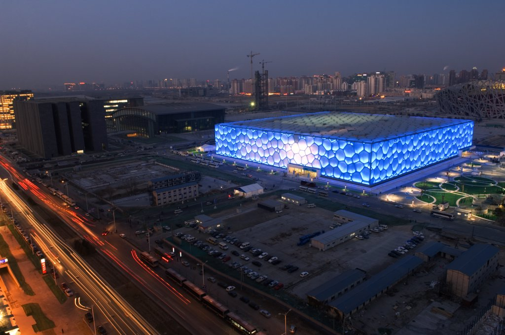 China, Beijing. The Water Cube National Aquatics Center swimming arena in the Olympic Park. : Stock Photo