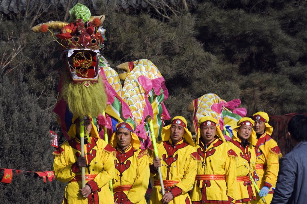 Stock Photo: 4272-4722 China, Beijing. Beiputuo temple and film studio. Chinese New Year Spring Festival - Dragon Dance performers.
