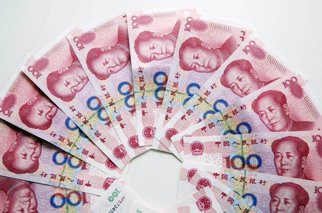 China. Chinese money 100 yuan bank notes : Stock Photo