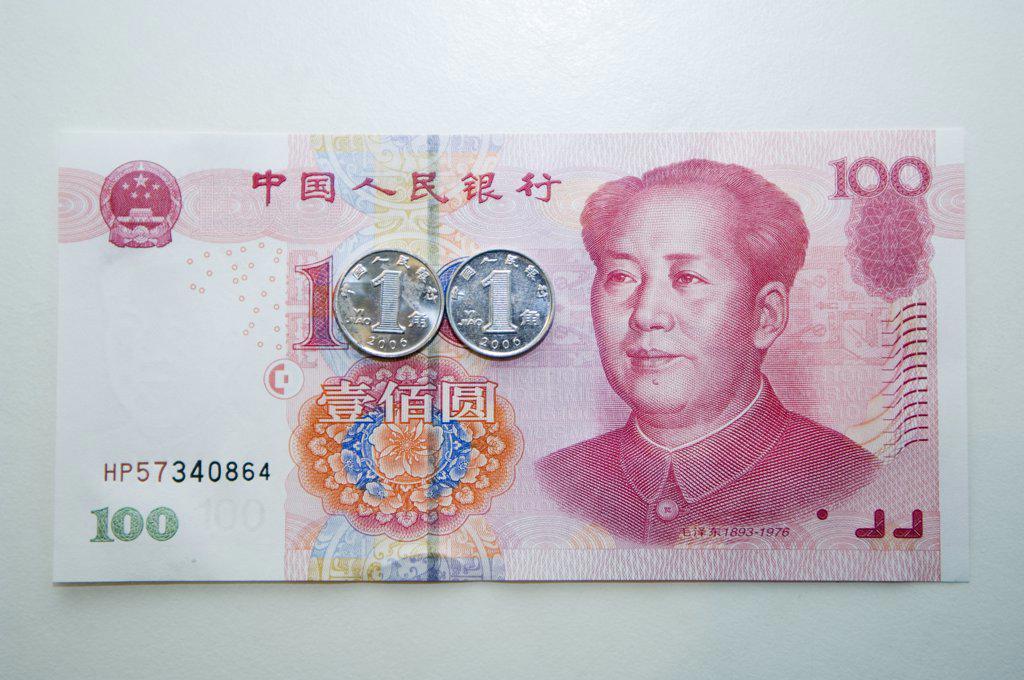 Stock Photo: 4272-4841 China. Chinese money 100 yuan bank notes
