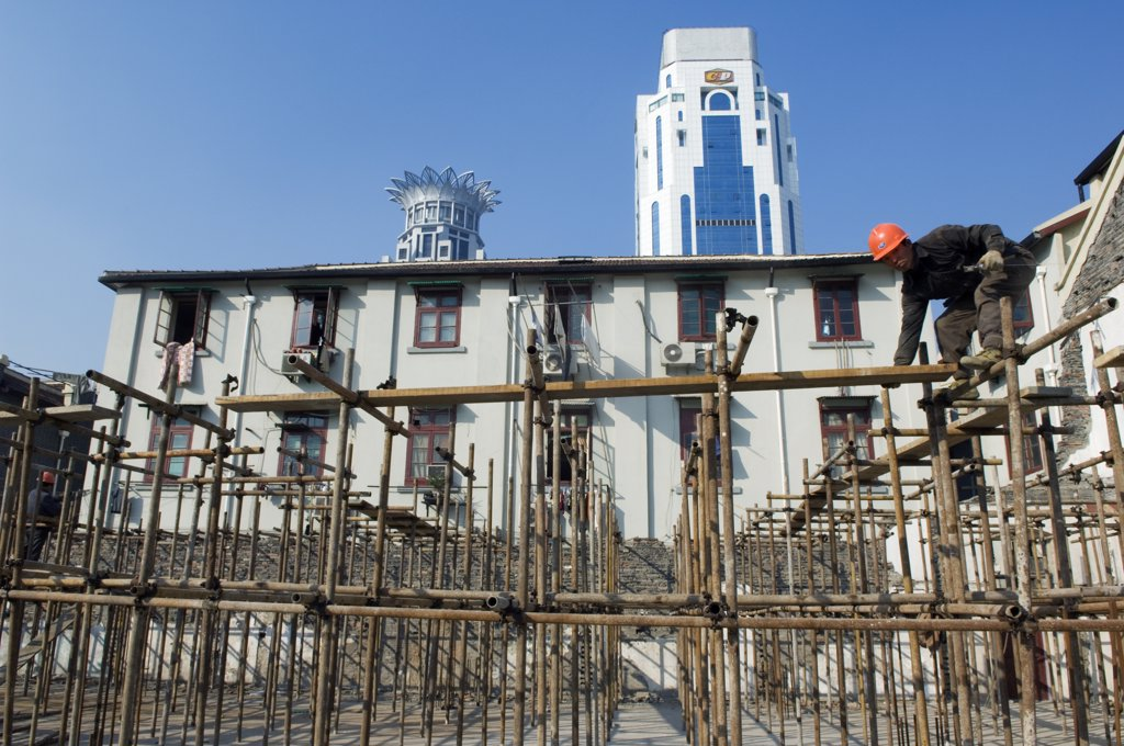 Stock Photo: 4272-4846 China, Shanghai. Modern and old architecture being renovated.