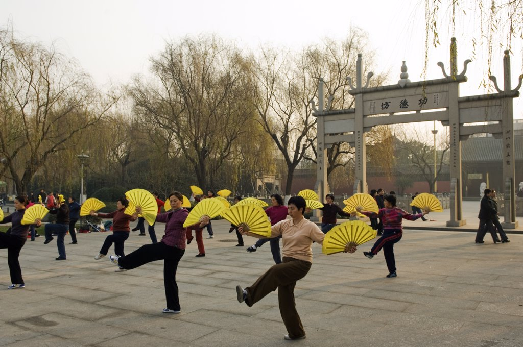 China, Zhejiang Province, Hangzhou. Women practising tai chi at West Lake. : Stock Photo