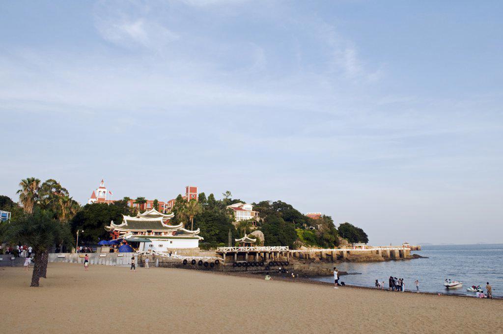 Stock Photo: 4272-5016 China, Fujian Province, Xiamen. A sandy beach on the colonial island of Gulang Yu
