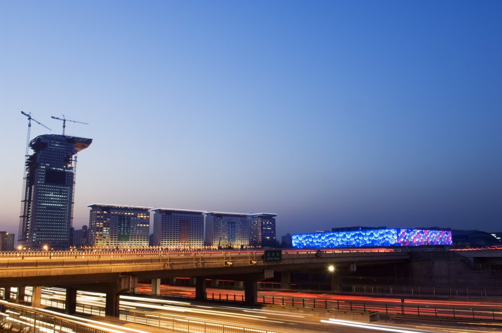 Stock Photo: 4272-5095 China, Beijing. The Water Cube National Aquatics Centre lit at dusk