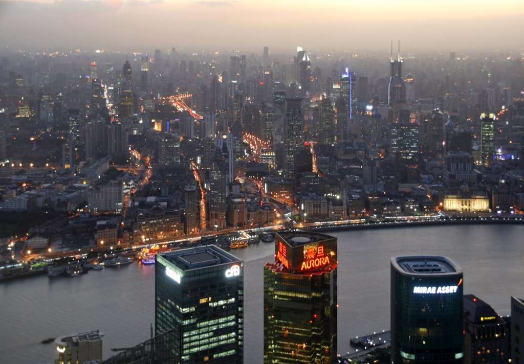 Stock Photo: 4272-5194 China, Shanghai. View from the Jin Mao Tower in Shanghai over the Huangpu River.