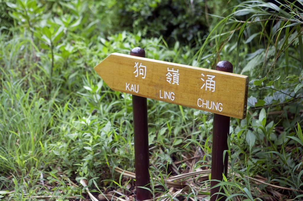 China, Hong Kong, Lantau Island.  Walking and trekking on the Lantau Trail, the footpaths are very well made and well waymarked. : Stock Photo