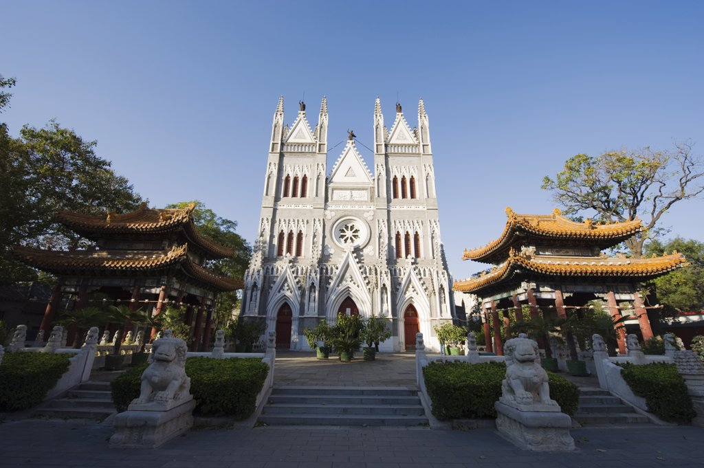 China, Beijing, East and West architecture meets at the West Church : Stock Photo