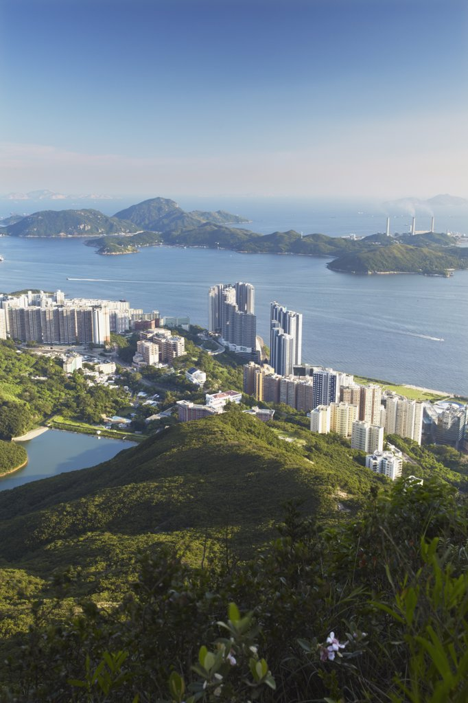 Stock Photo: 4272-5672 View of Pok Fu Lam from High West with Lamma Island in background, Hong Kong, China