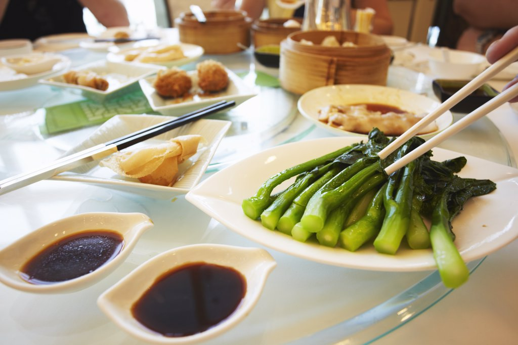 Stock Photo: 4272-5701 Food at Maxim's dim sum restaurant, City Hall, Hong Kong, China