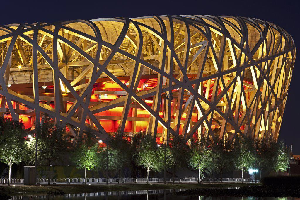 Stock Photo: 4272-5857 Exterior of the Olympic Stadium, Datun, Beijing, China by night