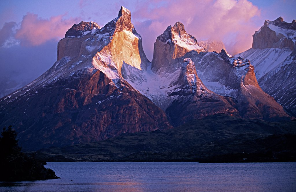 Stock Photo: 4272-5939 Paine Massif at dawn, seen across Lago Pehoe, Torres del Paine National Park, Chile.