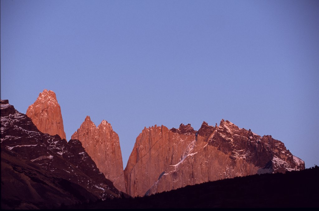 Stock Photo: 4272-6100 Dawn light on the Towers of Paine from Camping Torrres