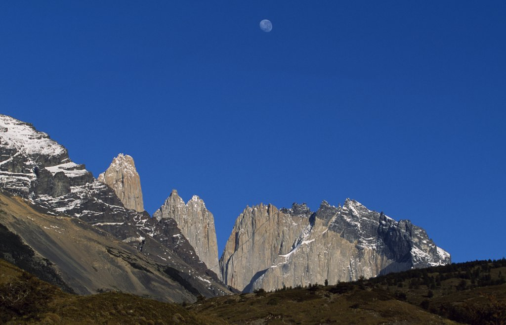 Stock Photo: 4272-6101 Moon over the Towers of Paine from Camping Torres.