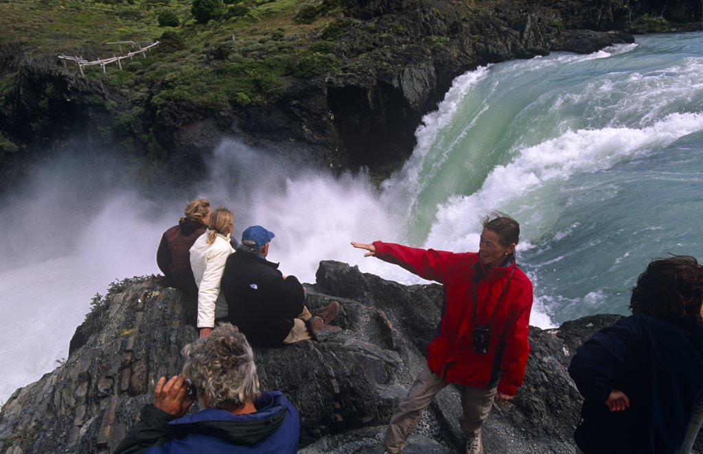 Stock Photo: 4272-6553 Chile, Torres del Paine National Park. Tourists at Salto Grande waterfall.