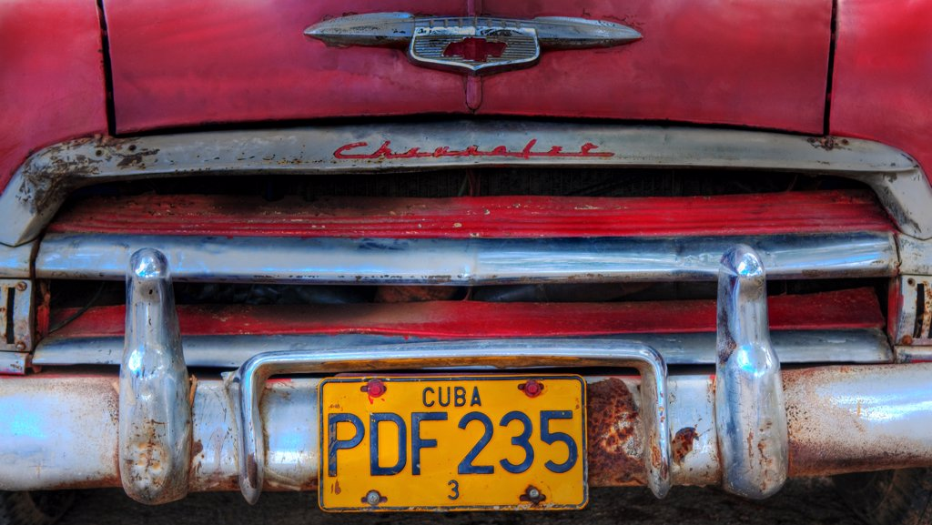 Stock Photo: 4272-7037 Red car in Havana, Cuba, Caribbean