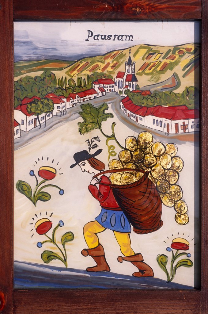 Stock Photo: 4272-7140 Czech Republic. Painting and applying gold leaf to glass, (folk art) Pouzdrany, Moravia.