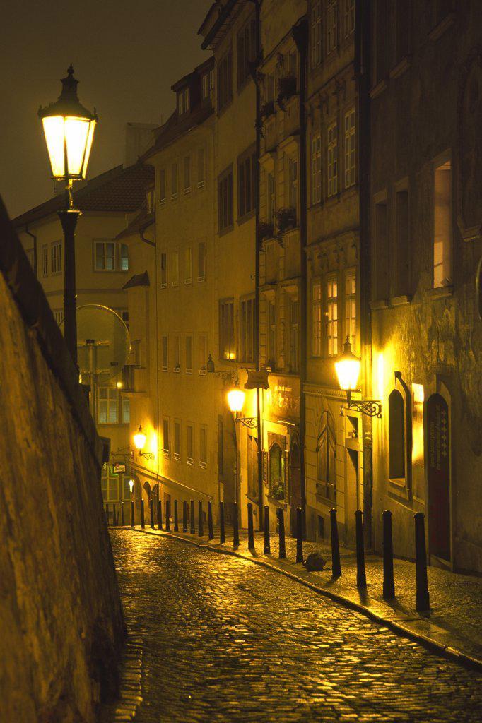 Stock Photo: 4272-7232 Night time street scene in The Little Quarter, Prague, Czech Republic.
