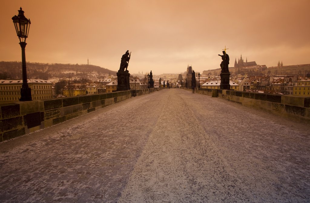 Stock Photo: 4272-7244 Czech Republic, Prague, Europe; Early morning winter on Charles Bridge