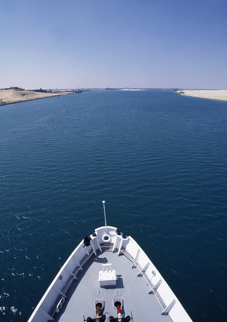 Bow of ship heading north up the Suez Canal : Stock Photo
