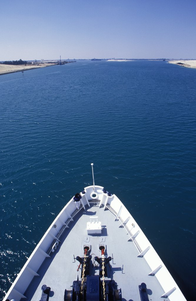Stock Photo: 4272-7474 Bow of ship pointing up the Suez Canal.