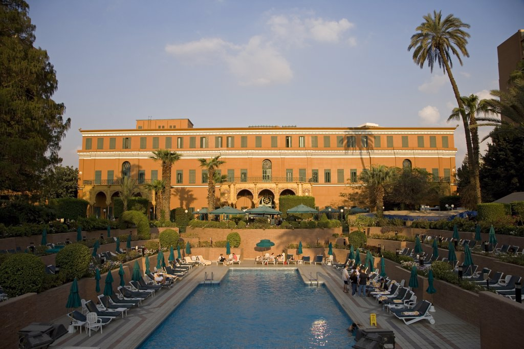 Stock Photo: 4272-7638 The luxurious Marriott Hotel in Cairo. Standing in the fashionable district of Zamalek, it is built around the lavish 19th century Gezira Palace, built for the opening of the Suez Canal.