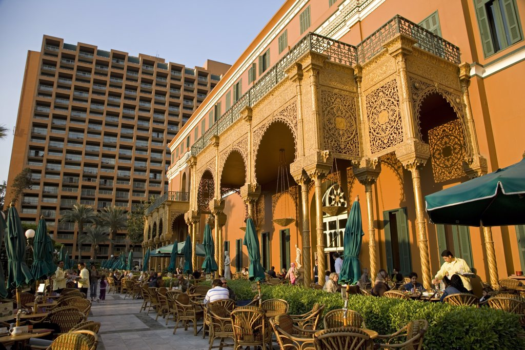 The luxurious Marriott Hotel in Cairo. Standing in the fashionable district of Zamalek, it is built around the lavish 19th century Gezira Palace, built for the opening of the Suez Canal. : Stock Photo