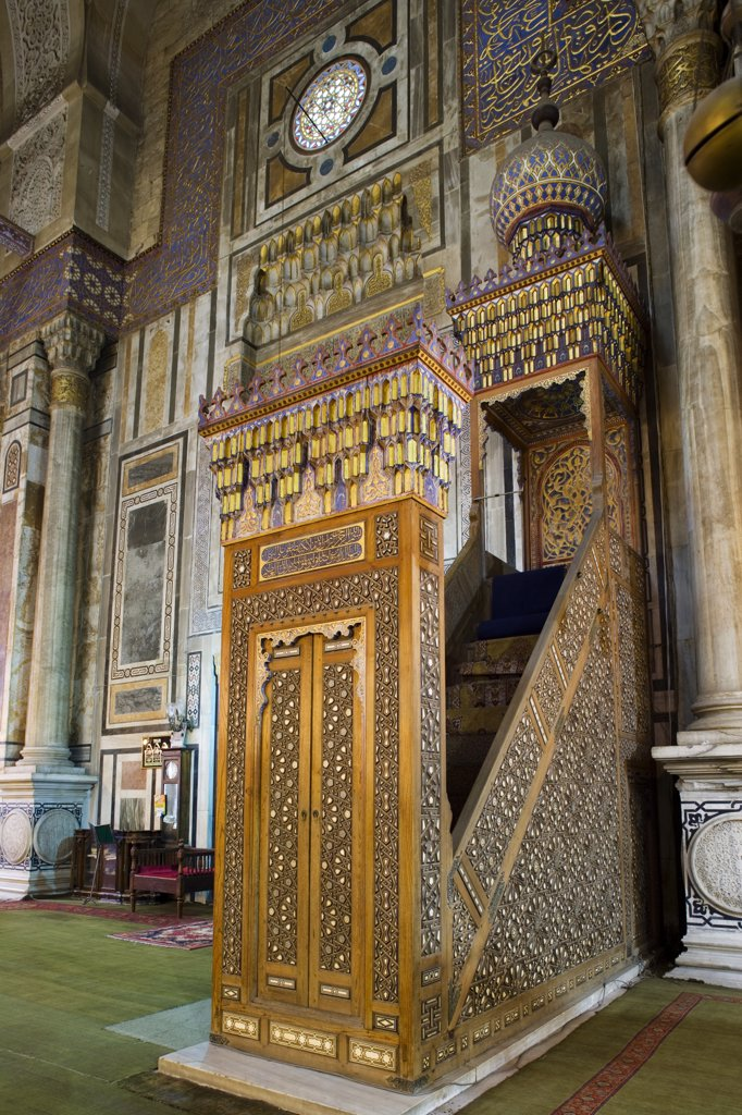Stock Photo: 4272-7658 The minbar of the Al Rifai mosque in Islamic Cairo, finished in 1912. The mosque houses the tombs of Egypt's last king, Farouk, and the last Shah of Iran.