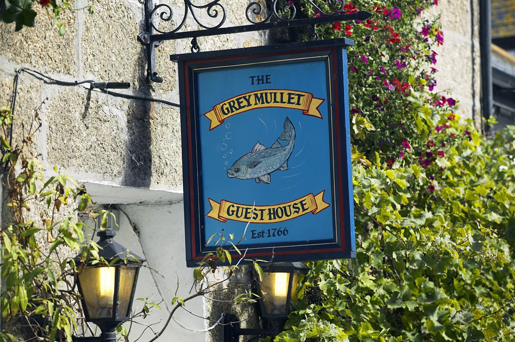 The sign outside the Grey Mullet Guest House in the Fifherman's Quater of St Ives, Cornwall. Once the home of one of the largest fishing fleets in Britain, the industry has since gone into decline. Tourism is now the primary industry of this popular seaside resort town. : Stock Photo