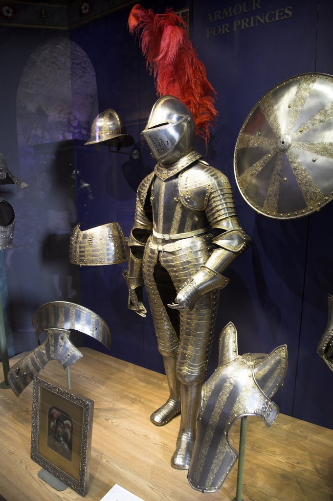 Stock Photo: 4272-8151 A suit of medieval armour on display inside the Tower of London.