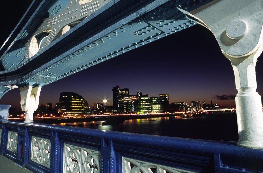 Stock Photo: 4272-8400 View towards London's south bank and the new City Hall from an arch on Tower Bridge in central London