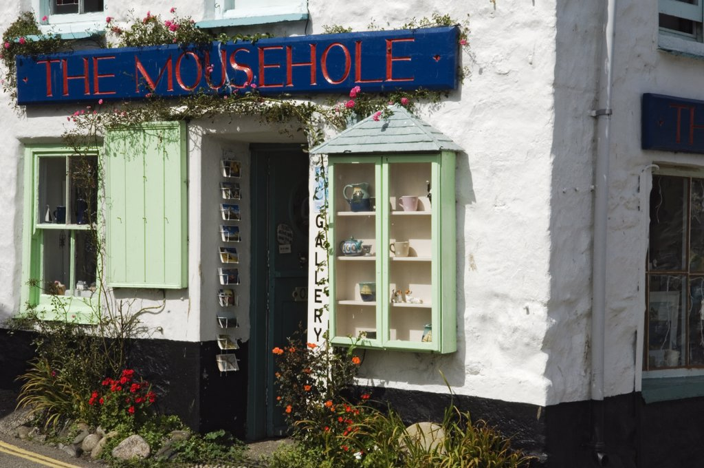 Stock Photo: 4272-8407 A crafts shop sells curios to tourists at the old fishing village of Mousehole, Cornwall, England