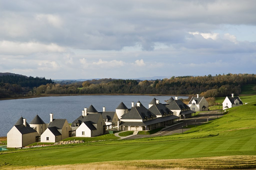 Stock Photo: 4272-8573 Northern Ireland, Fermanagh, Enniskillen. Lough Erne Golf Resort's 25 lodges overlook the lake and are surrounded by the new Nick Faldo 18-hole golf course.