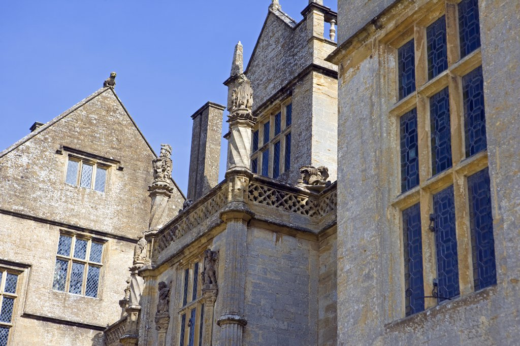 Stock Photo: 4272-8996 England, Somerset, Montacute. Montacute House - a magnificent Elizabethan renaissance Ham Hill stone manor house. It was the location for the 1995 'Sense and Sensibility' film and was described as as one of the glories of late Elizabethan architecture.