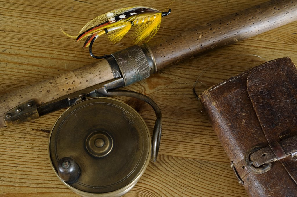 UK.  Antique salmon fishing tackle and Hardy Rod : Stock Photo