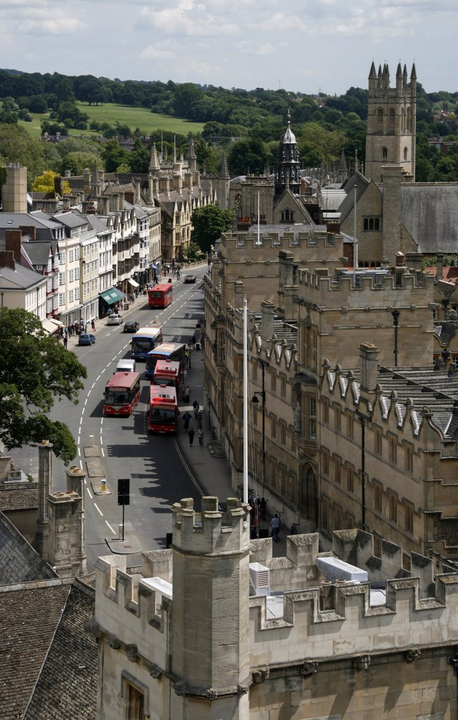Stock Photo: 4272-9272 UK; England; Oxford. The High Street in Oxford with the Magdalen College in the background. Seen from the tower of St. Mary the Virgin.