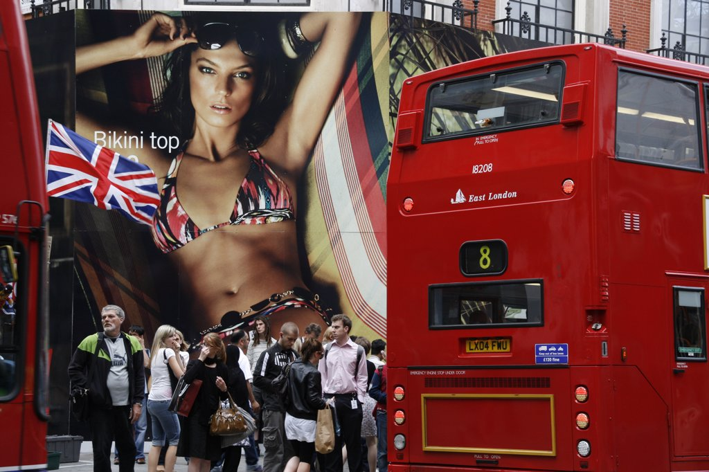 England, London. London Busses on Oxford Street : Stock Photo