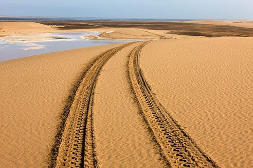 Stock Photo: 4273-13035 Wheel Tracks In Desert Near Walvis Bay, Namibia