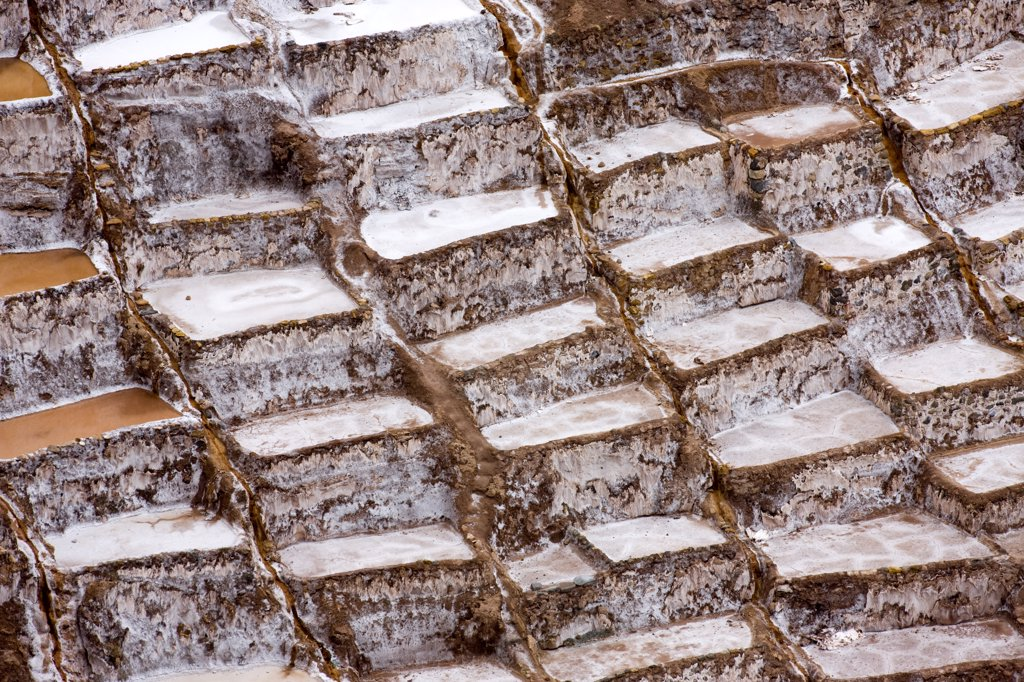 Maras Salt Mines in Salinas near Tarabamba in Peru : Stock Photo