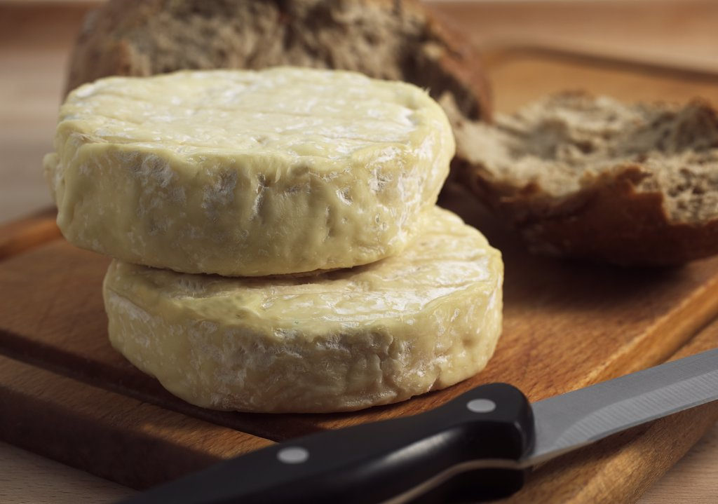 Stock Photo: 4273-17826 French Cheese Called Saint Marcelin, Cheese produced from Cow's Milk