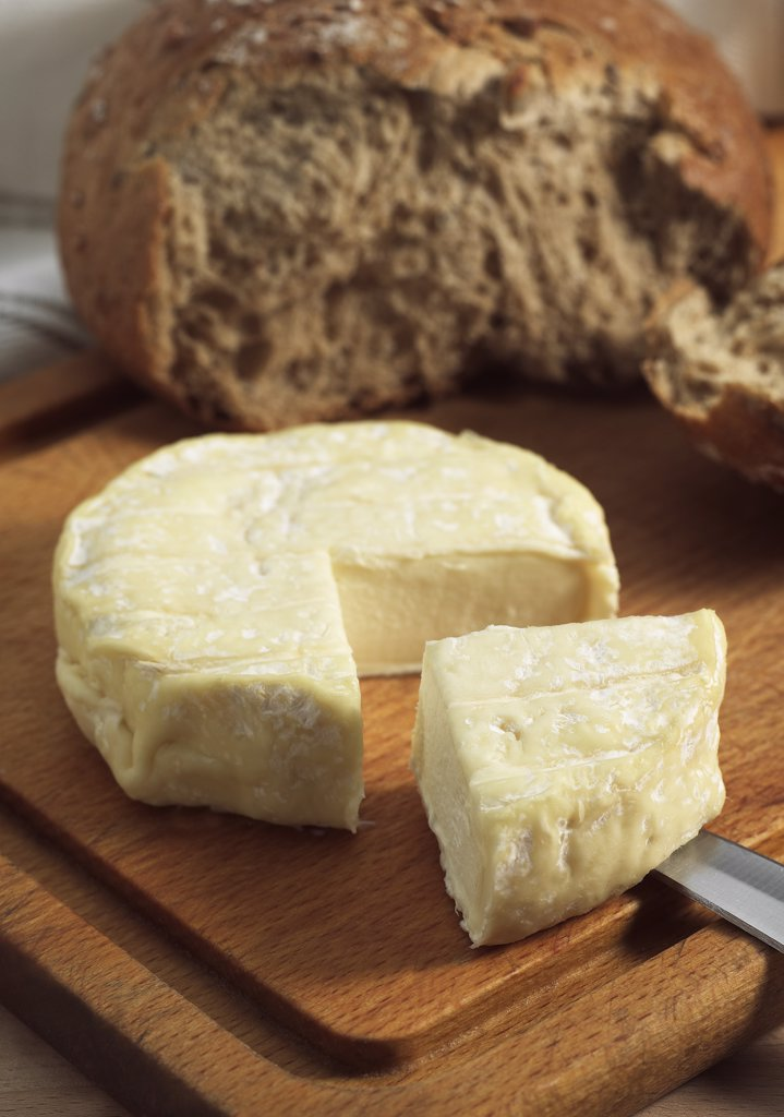 Stock Photo: 4273-17828 French Cheese Called Saint Marcelin, Cheese produced from Cow's Milk