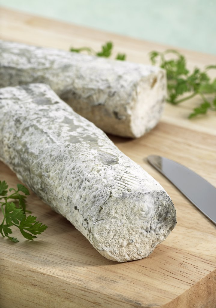French Cheese called Sainte Maure de Touraine, Cheese made with Goat Milk : Stock Photo