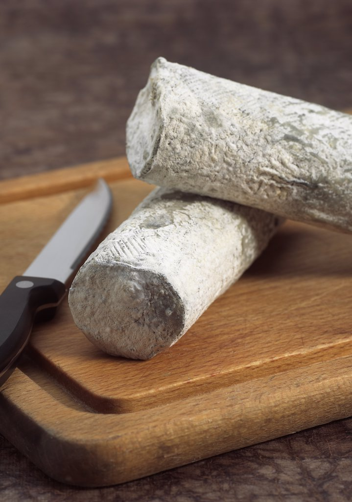 Stock Photo: 4273-17906 French Cheese called Sainte Maure de Touraine, Cheese made with Goat Milk